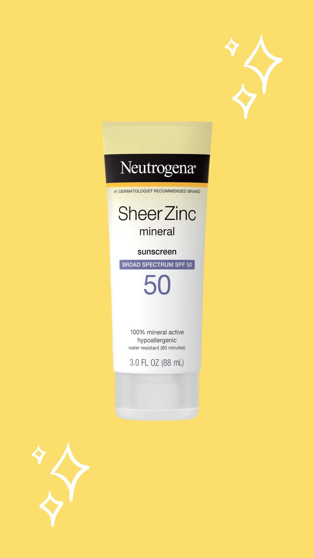 Neutrogena Sheer Zinc Mineral Sunscreen, yellow background with sparkles